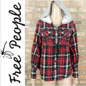 Free People Flannel Hooded Shirt